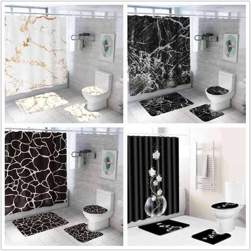 Marble Printing Waterproof Shower Curtain And Rug Set