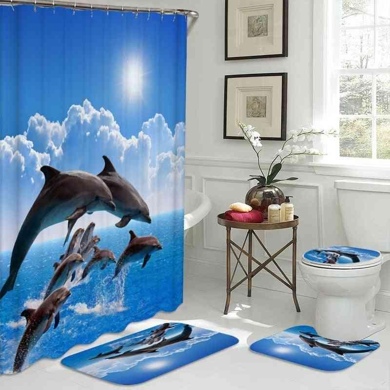 Waterproof, 3d Dolphin Design-shower Curtain And Toilet Mat Set