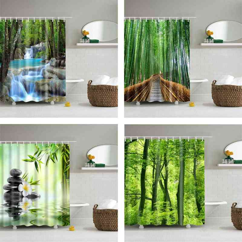 Forest Trees, 3d Printed Shower Curtain With Hooks