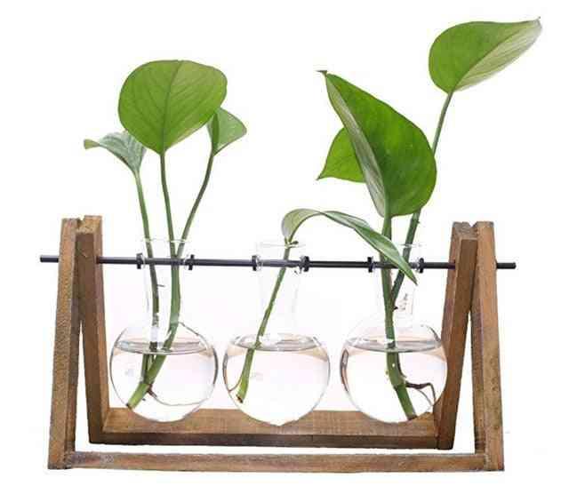 Rustic Wood Glass Vase Holder - Floral Arrangement Home Decor
