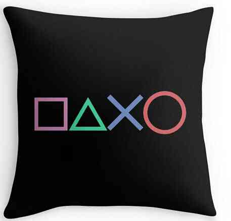 Playstation Buttons Printed, Vintage Style, Square Throw Pillow Cover