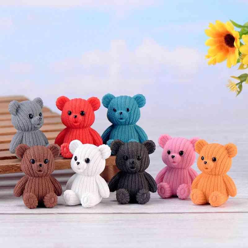 Cute Plastic Teddy Bear Miniature - Party Accessories, Animal Garden Figurines Home Decor