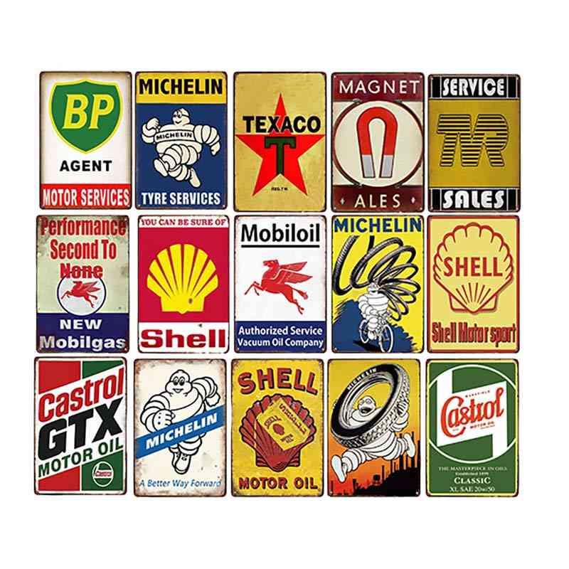 Creative Vintage Garage Gas Station, Tyre Service, Motor Oil Decorative Metal Tin Signs