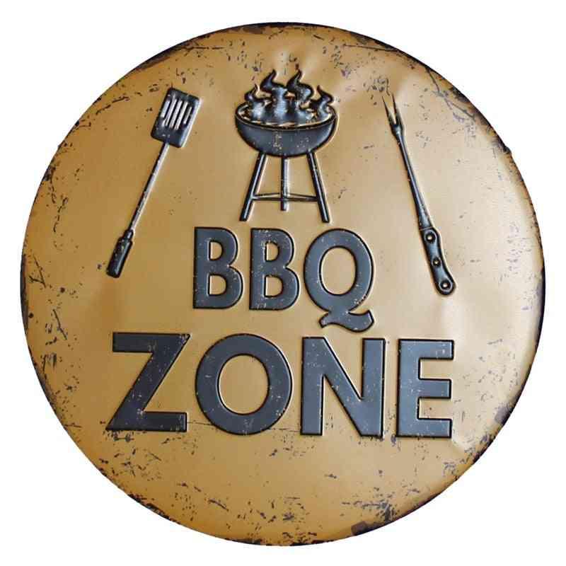 Retro Plaque Metal Tin Signs - Vintage Nostalgia Round Plates Bbq Zone, Cafe, Bar, Pub, Signboard Wall Decor