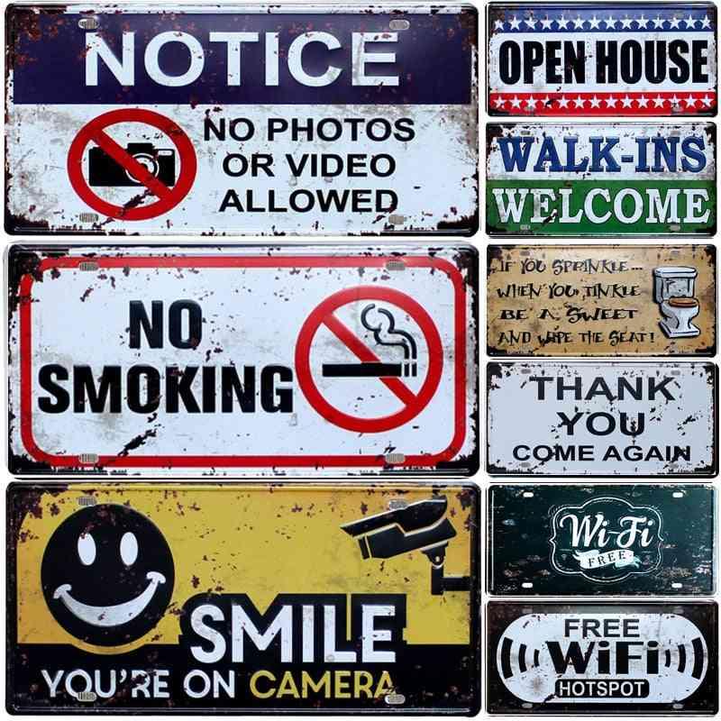 Vintage Metal Tin Sign Bar\pub\hotel Decorative Metal Sign - Warning Slogan, No Smoking, Art Painting Metal Plaque