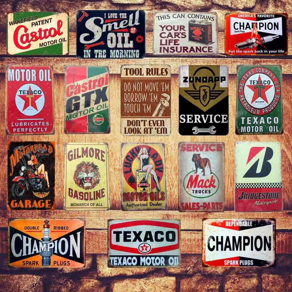 Motor Oil Plaque Vintage Metal Tin Signs - Home, Bar, Pub, Garage Gas Station Decorative Iron Plates Art Poster