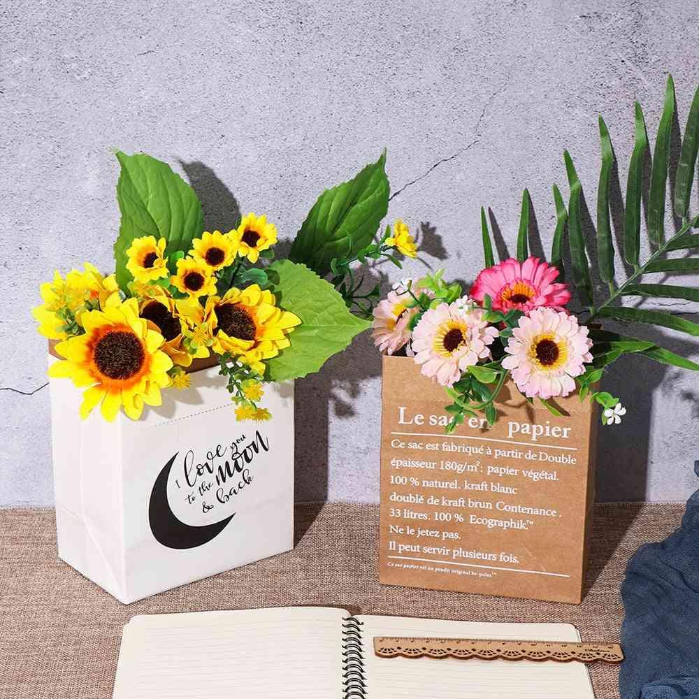 Diy Home Decor Kraft Paper Bag - Dried Plant Basket, Wedding Decor, Artificial Flower Vase