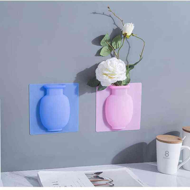 Silicone Easy Removable Wall And Fridge Sticky Magic Flower Plant Vases - Diy Home Decoration Vase