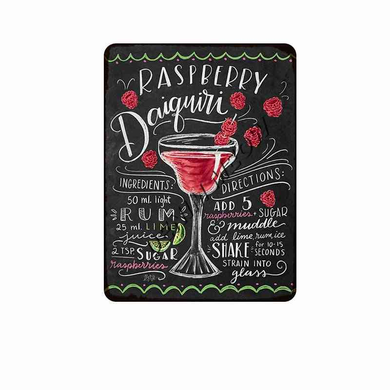 Vintage Blackboard Drawing Cocktail, Drink Metal Signs - Retro Coffee, Bar, Pub, Posters Home Decor Plaques