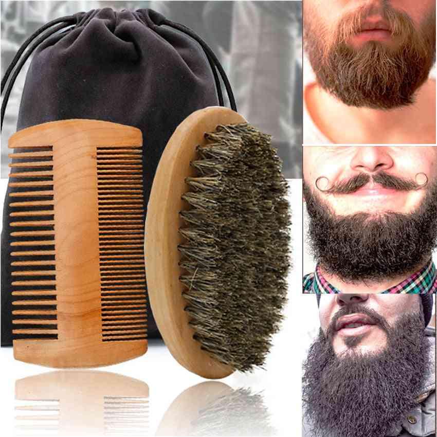 High Quality Soft Boar Bristle Wood Beard Brush - Hairdresser Mustache Comb