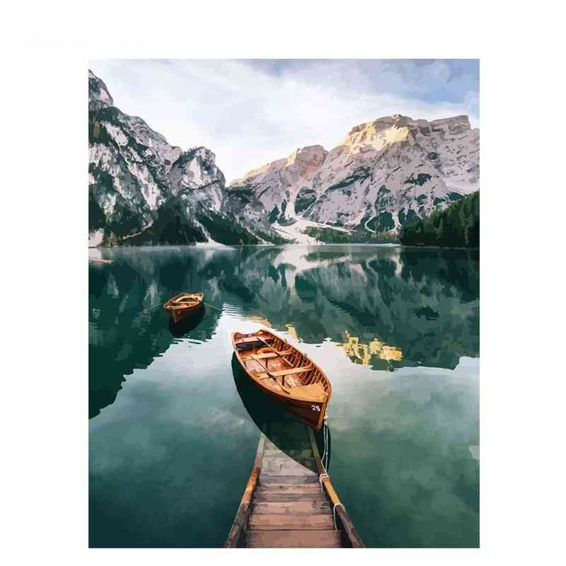 Frame Mountain, Lake Diy Painting By Numbers - Landscape Handpainted Oil Painting Modern Home Wall Art Canvas Painting