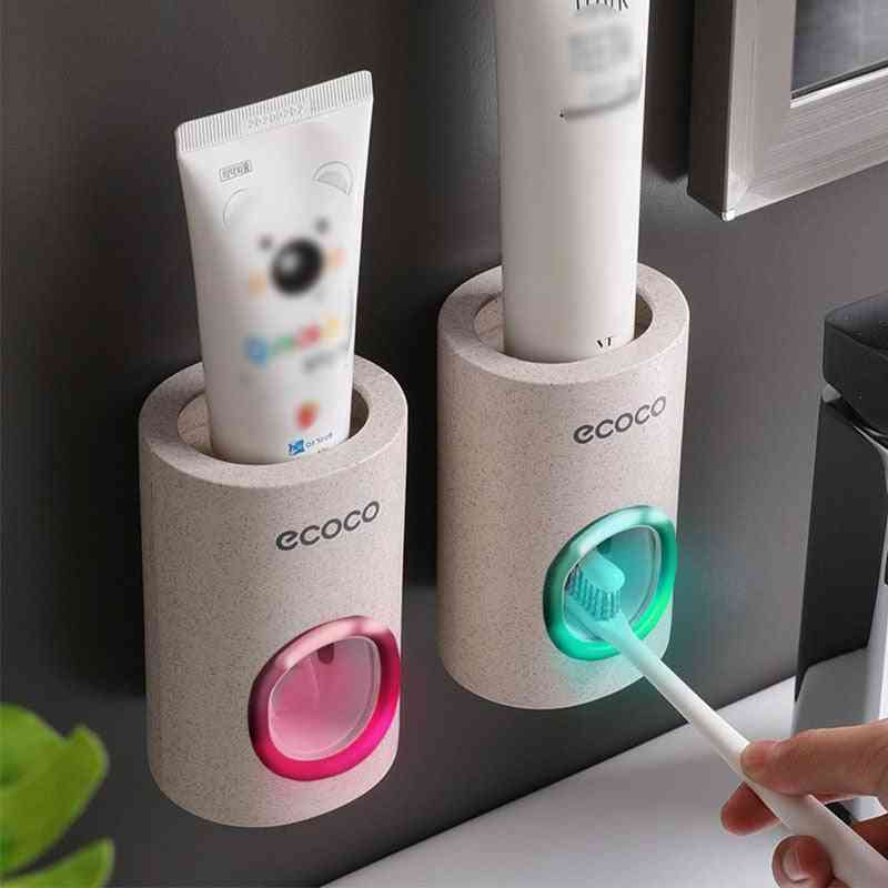 Automatic Toothpaste Dispenser - Dust Proof Toothbrush Holder - Wall Mount Stand For Bathroom