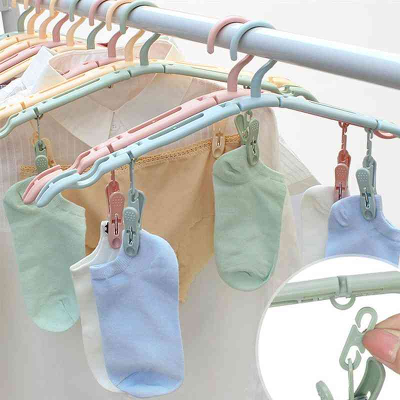 Multifunctional And Foldable Clothes Hanger With Clips