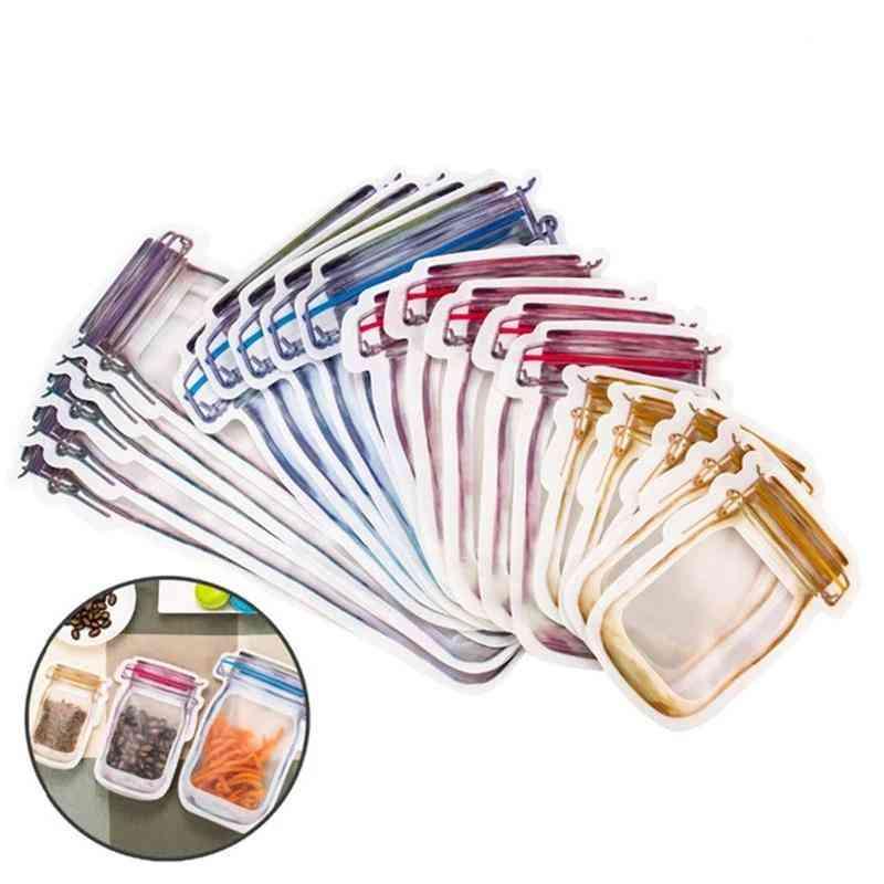 Reusable Mason Zipper Jar Bottles Bags - Seal Fresh Food Storage Organizer