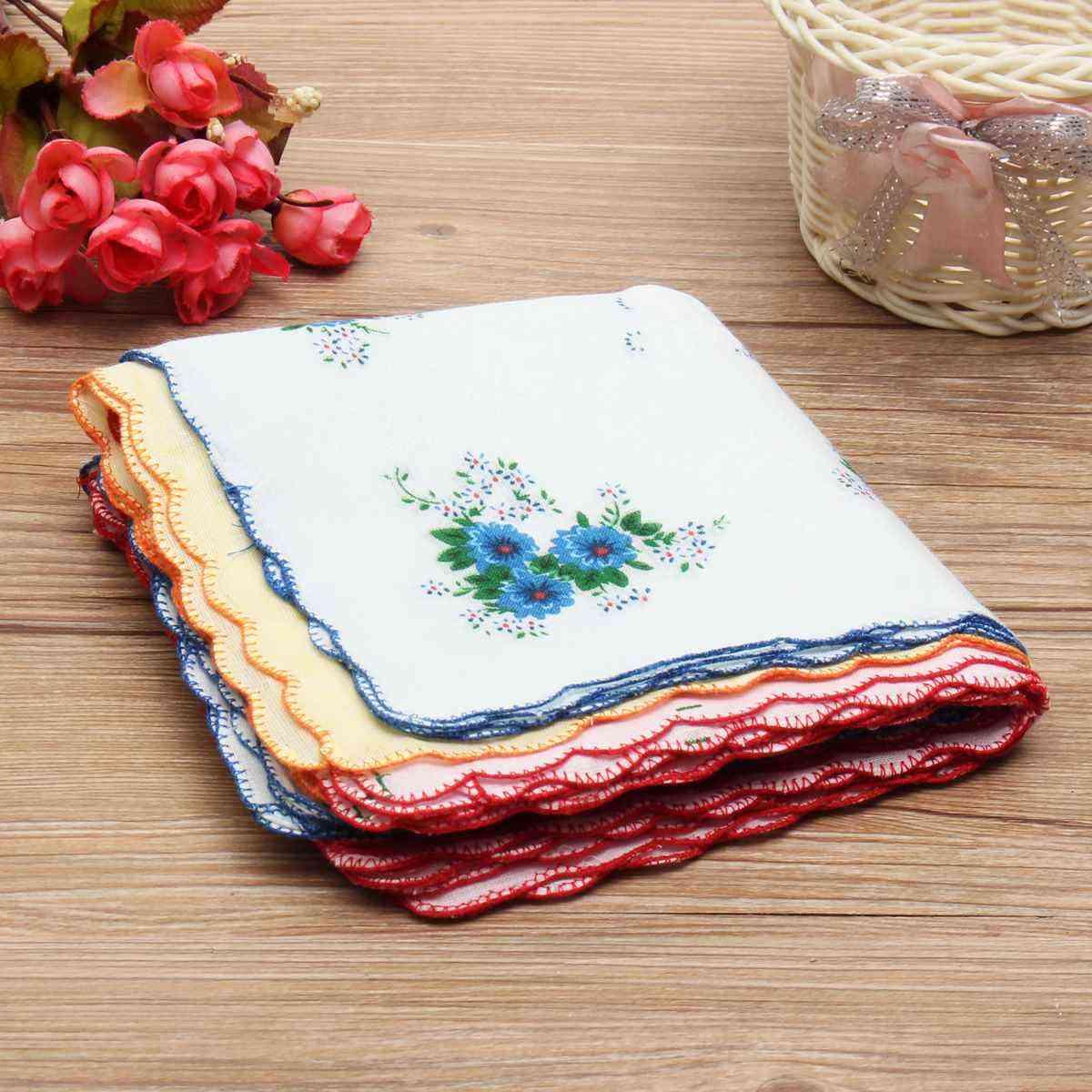 Vintage Style Floral Flower Bird Handkerchief - Lady Women Kids Cotton Hanky
