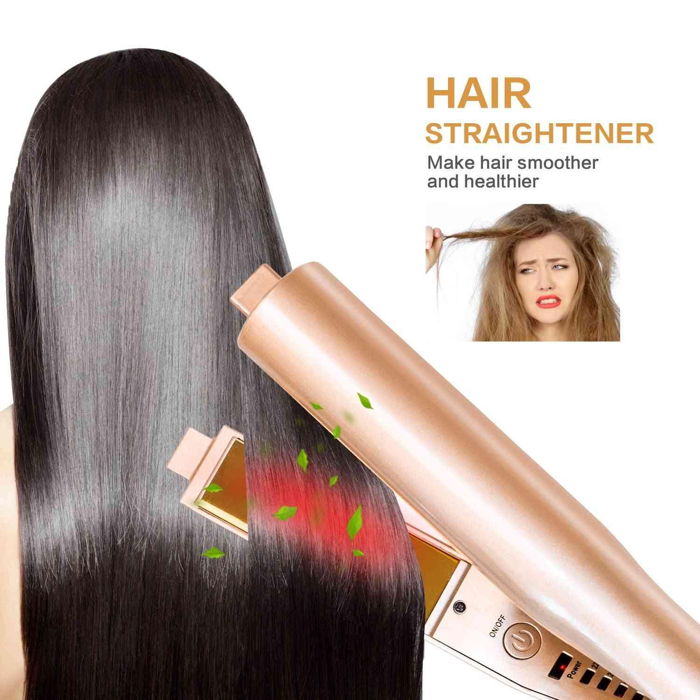 2 In 1 Hair Curlers Straightening Iron -flat Twist Dual Voltages 3d Concave And Convex Titanium Gold Plates