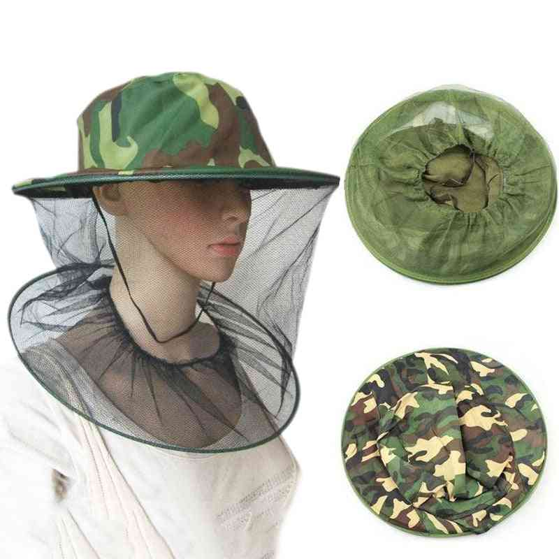Garden Beekeeping Hat Camouflage Nets For Mosquito Net Hat Outdoor Mosquito Cap Bug Insect Fishing Hat Mesh Face Protector