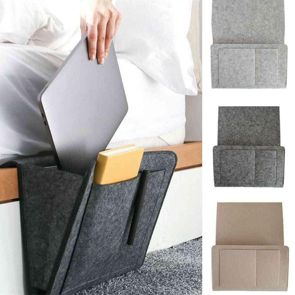 Bedside Felt Storage Bag With Pockets - Bed Sofa Desk Hanging Organizer