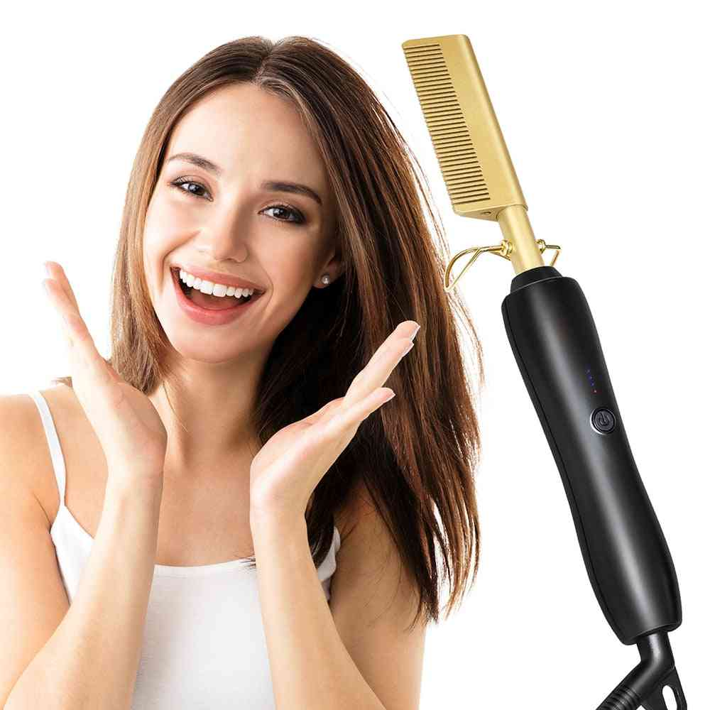 Hair Straightener Wand Hair Curling Electric Iron Comb - Hair Iron Straightening