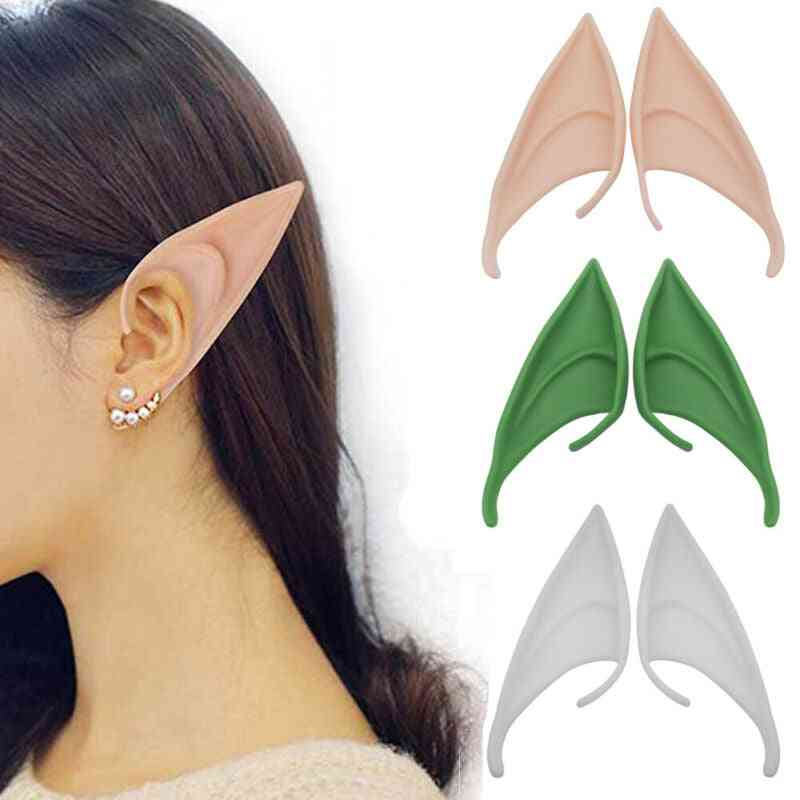 Halloween Latex Elf Ears, Fairy Pixie Cosplay Hook On Fancy Dress Ears