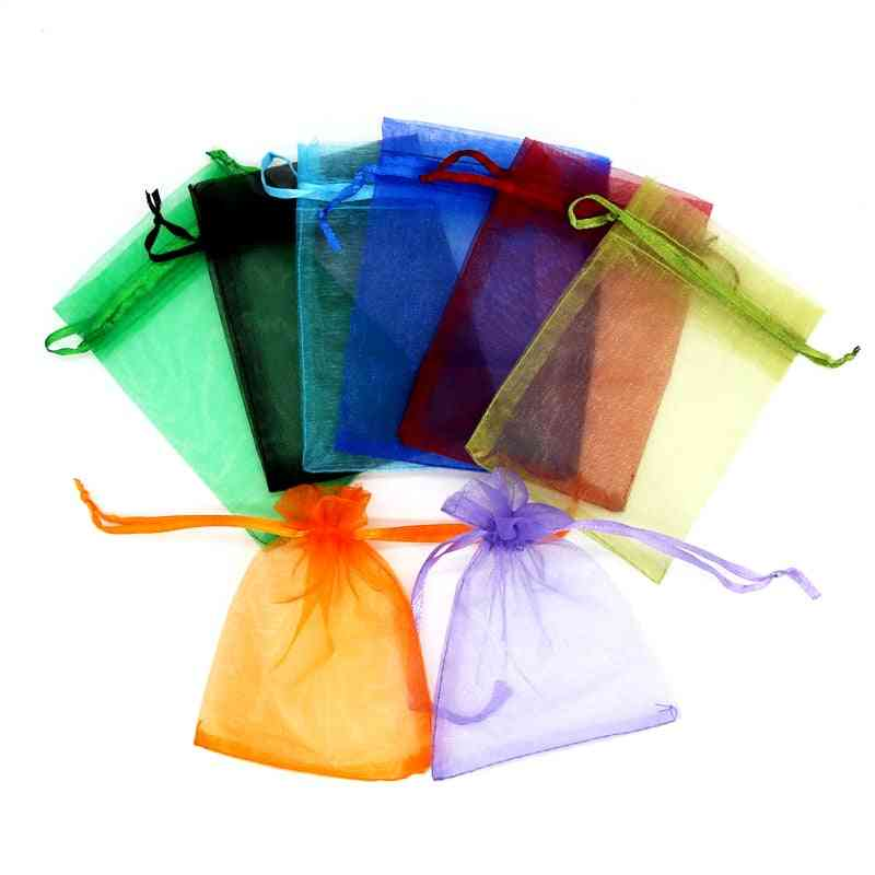 10pcs Organza Jewelry Packaging Bag, Wedding Party Favors Drawable Bag