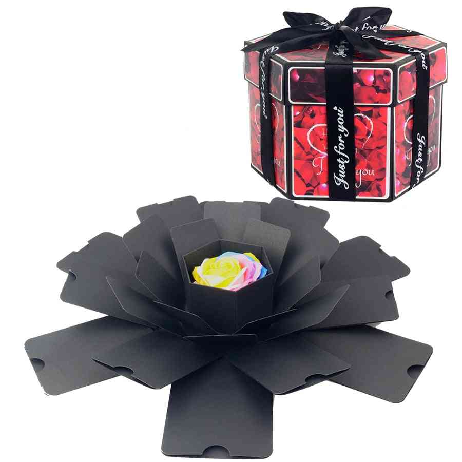Hexagon Surprise Explosion Box - Diy Handmade Scrapbook Photo Album Wedding Box For Valentine, Christmas