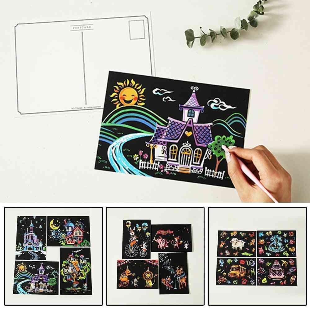 Children Diy Scratch Paintings Cartoon Postcard Art Drawings 4pcs