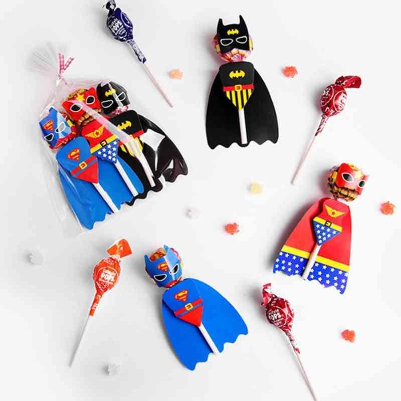 Superman Batman Cartoon Candy Lollipop Decoration Cards Birthday Party