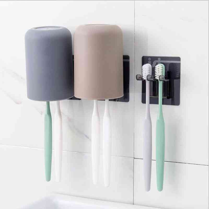 Nordic Style Circular Simple Plain Cup Holder Wall Set For Toothbrush Toothpaste