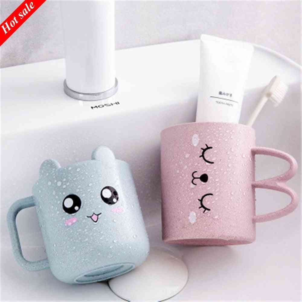 Wheat Straw Cartoon Expression Mouthwash Creative Brushing Cup