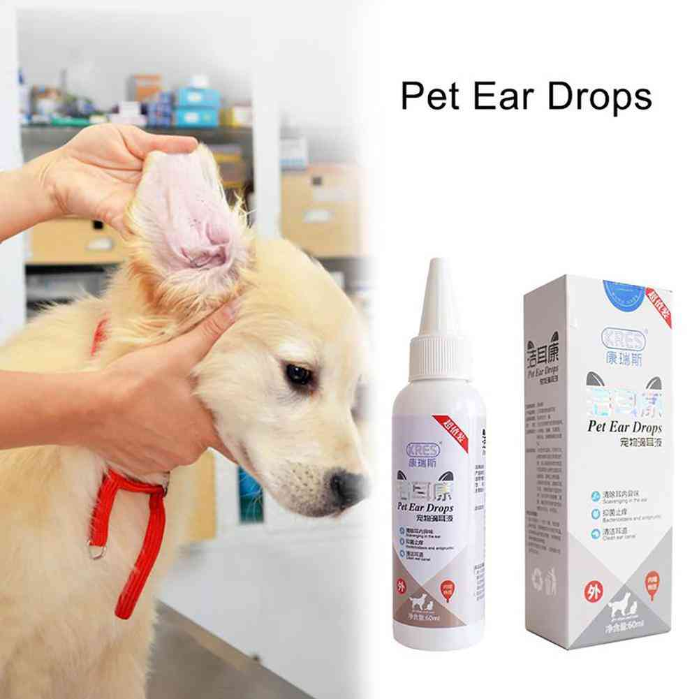 Metermall 60ml Pet Ear Drops Ear Wash Ear Fluid For Cat Dog Ear Smelly Canal Cleaning