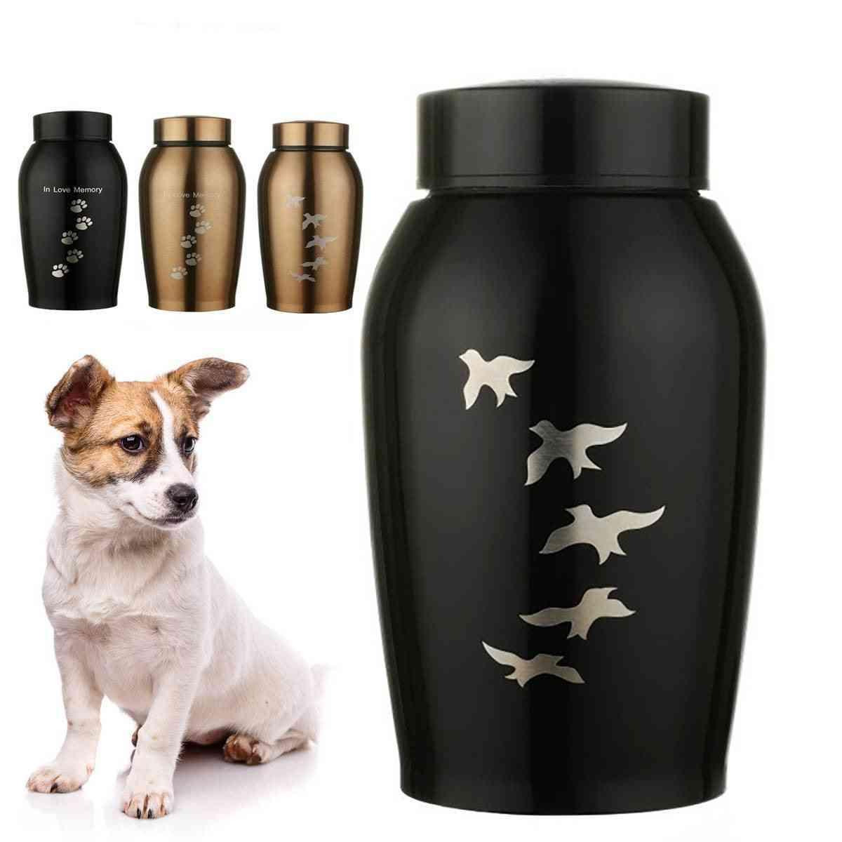 Stainless Steel Pets Dog, Cat, Birds, Mouse Cremation Ashes Urn Keepsake Casket Columbarium Pets Memorials