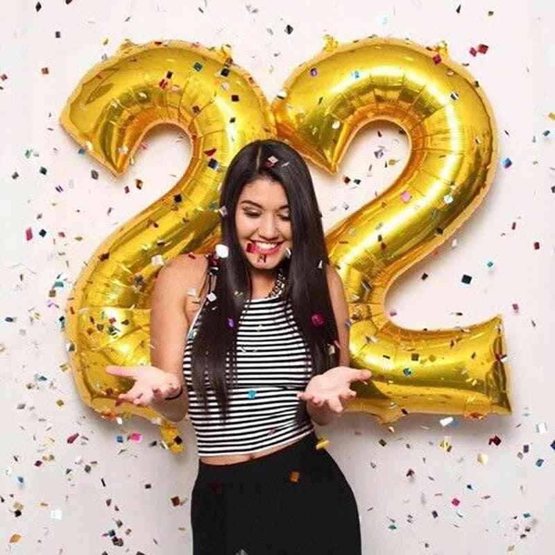 Aluminum Foil, Digit Figure Balloon For Child, Adult Birthday, Wedding Decor