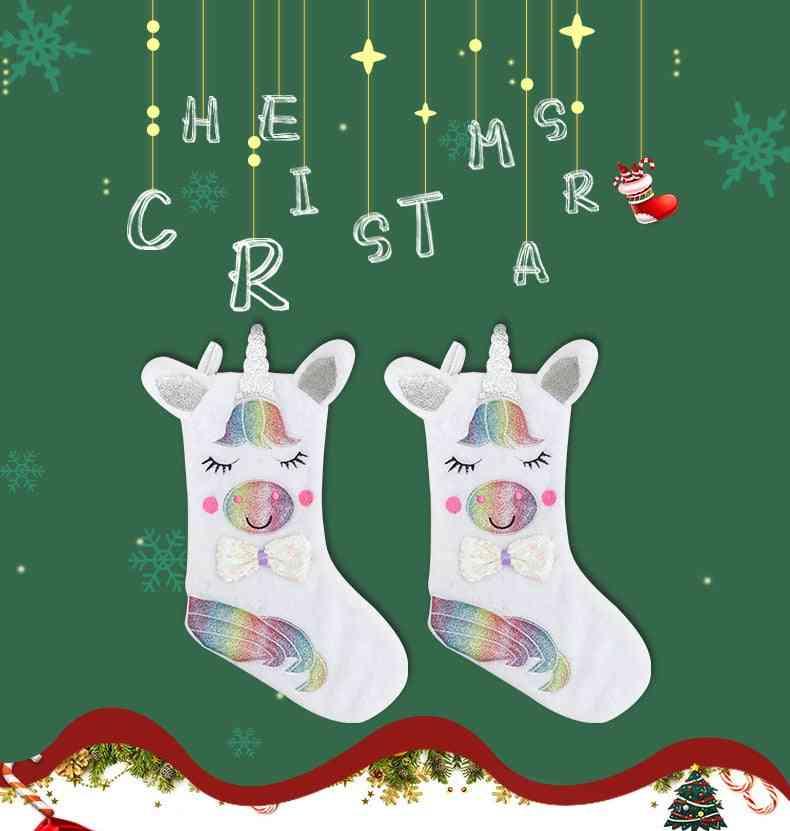Fashion Cute Design Luminous Christmas Pendant Hanging Socks - X-mas Trees Sock Bag