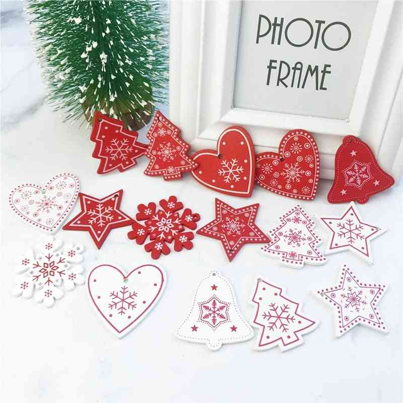 Wooden Christmas Pendants Hanging Ornaments - Xmas Decor For Home Party, New Year