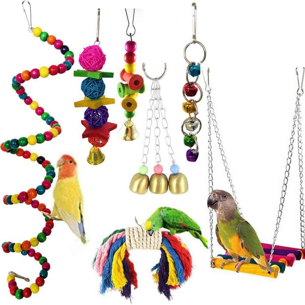 Combination Parrot Toy, Bird Articles Parrot Bite Toy, Bird, Parrot Swing Ball Bell Standing Training