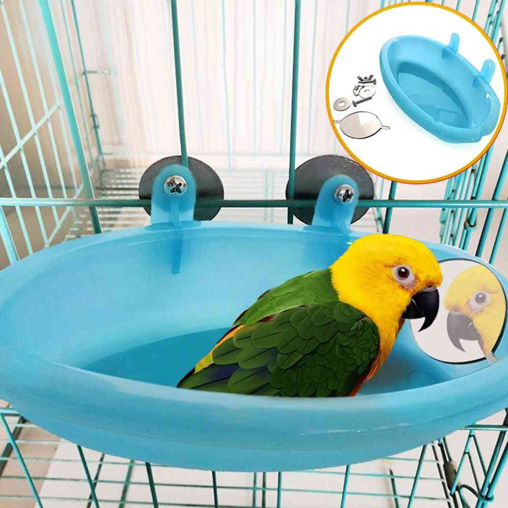 Pipifren Parrot Bathtub With Mirror Bird Cage Accessories Mirror Bath Shower Box, Small Parrot Cage Pet