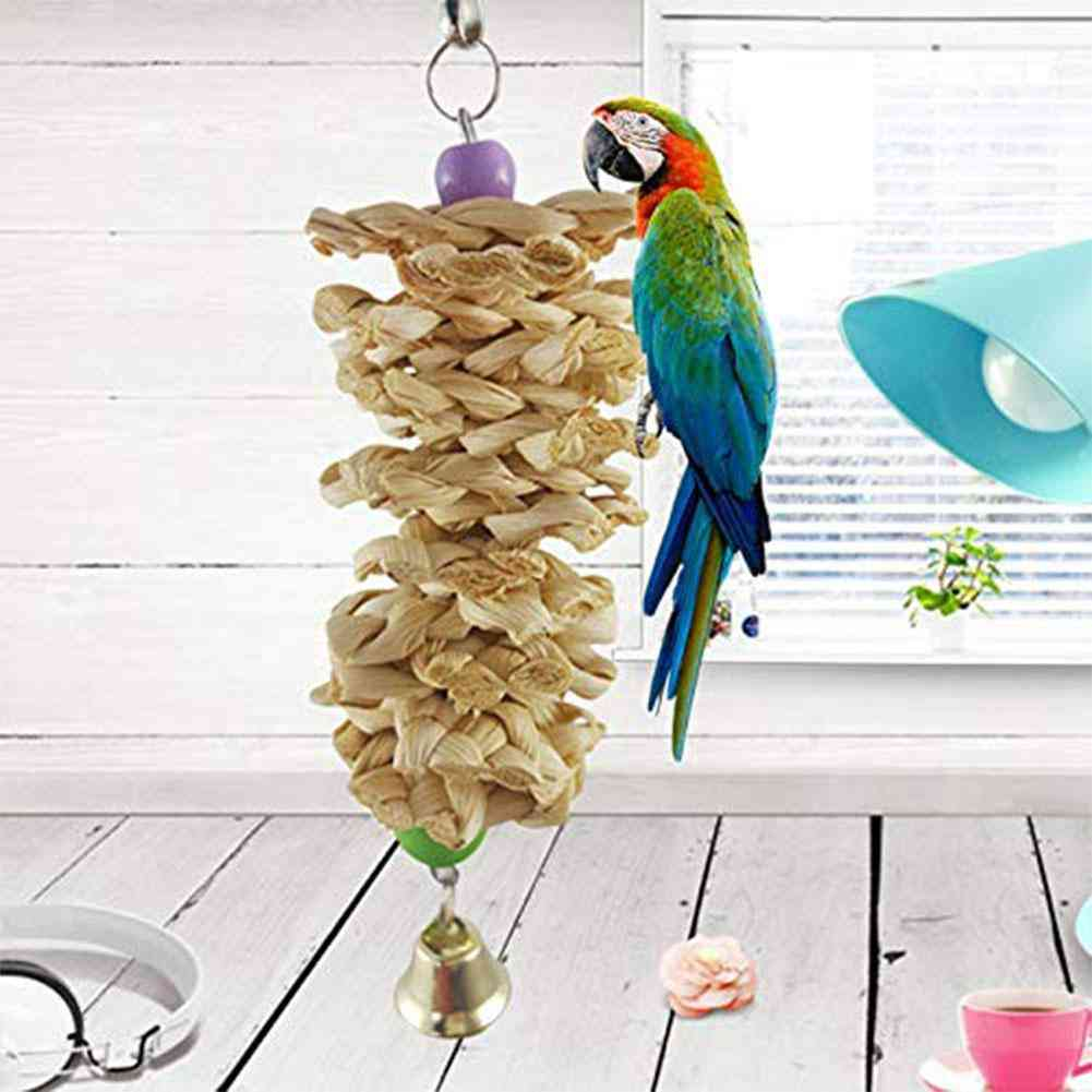 Adding Bird Parrot Toy With Bell Natural Wooden Grass Chewing Bite Hanging Cage Swing Climb Chew