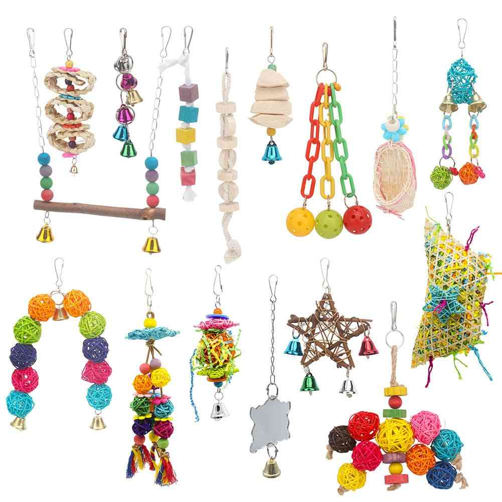 Bird- Swing Stand, Wooden Cubes, Beads, Chains And Bells