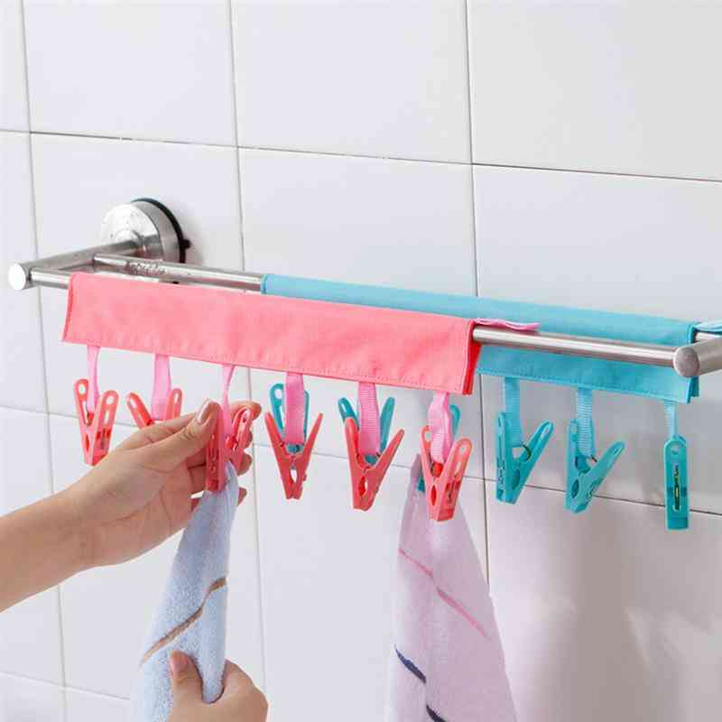 Portable, Non Slip And Foldable Clothe Drying Hanger With Clips