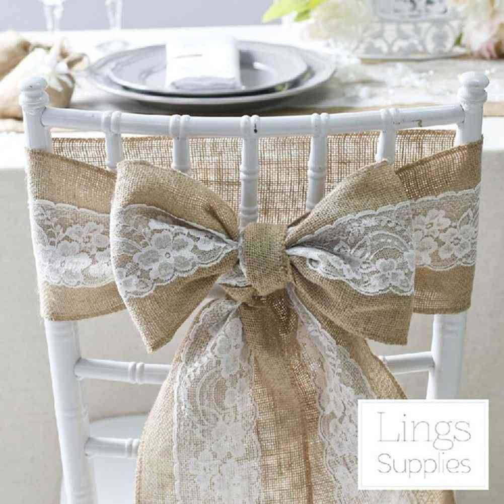 Natural Vintage Burlap Chair, Sashes Lace Jute Chair Tie Bow For Rustic Wedding Decor