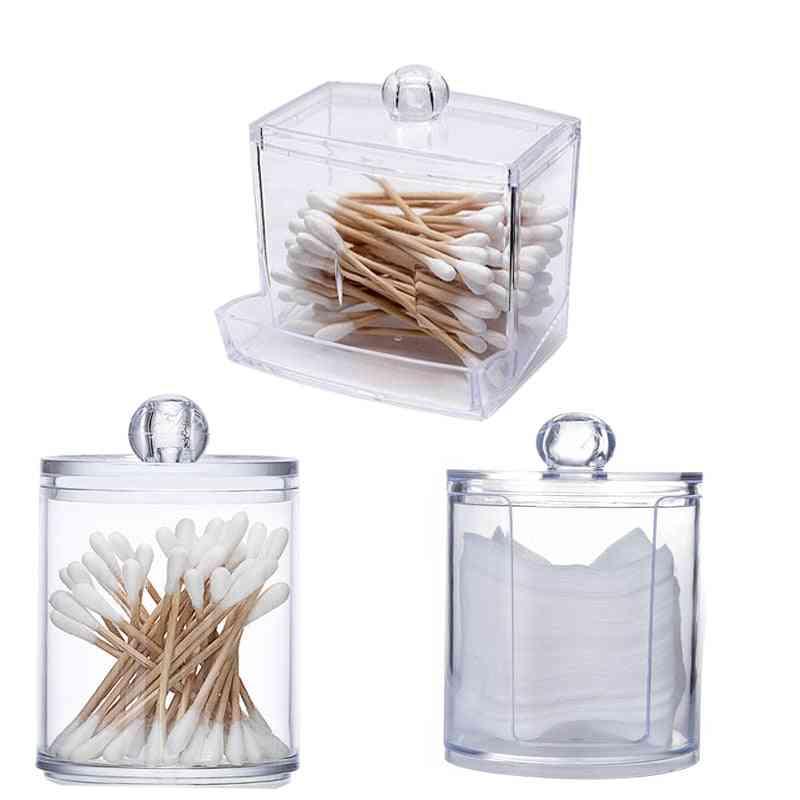 Transparent Organizer Cotton Swab Storage Box Organizer - Acrylic Cotton Pad Storage Box