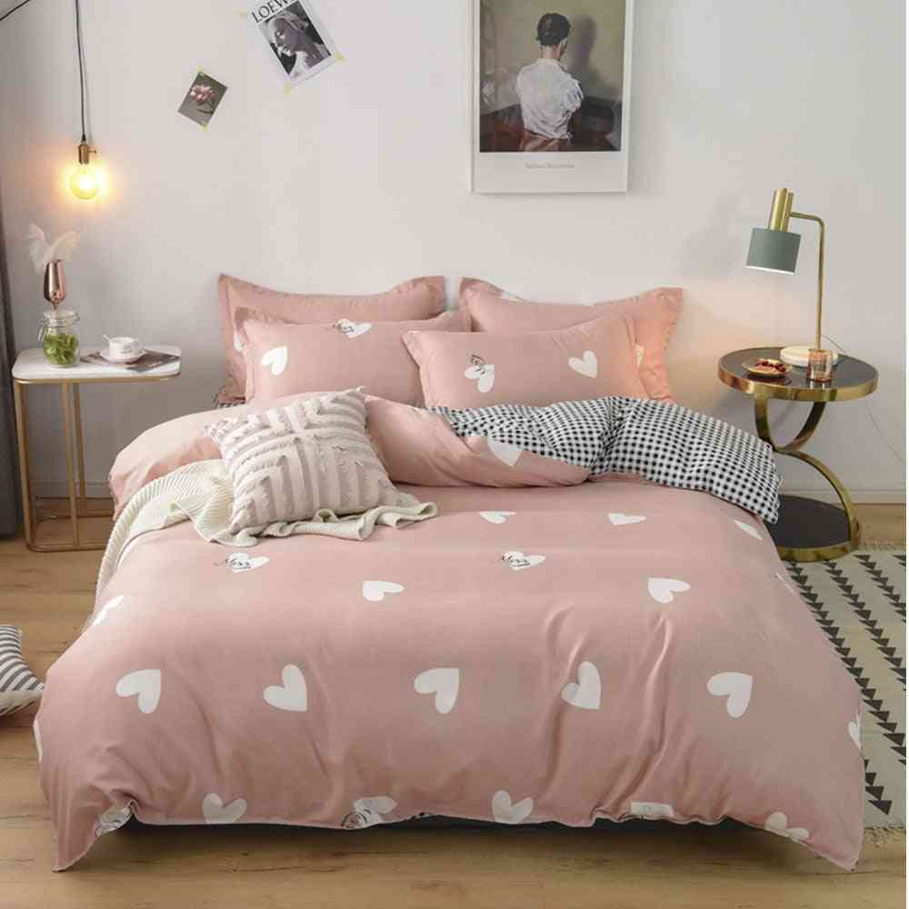 Cartoon Printing Bedding Set With Pillowcase - Cute Cotton Bed Sheet And Duvet Cover Sets