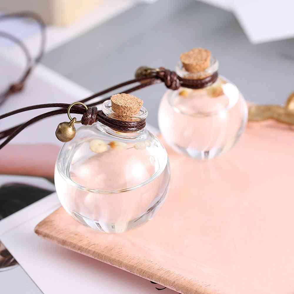 Car Perfume Bottle - Air Freshener With Flower For Essential Oils, Auto Ornament Perfume Pendant Household Storage Bottle