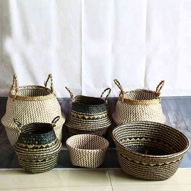 Seagrass Natural Rattan Storage Basket - Flower Pot, Plant Pot, Holder, Laundry Basket Container Home Decoration