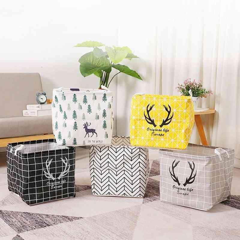 Cube Folding Laundry Basket Toy, Book Storage Basket, Sundries Clothes Organizer Storage Box