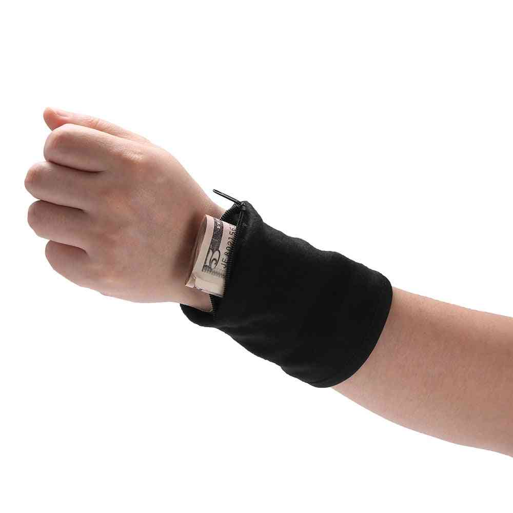 Outdoor Wrist Band With Key/card Storage Zipper Ankle Wrap Safety Bag/wallet - Wrist Support Sports Strap