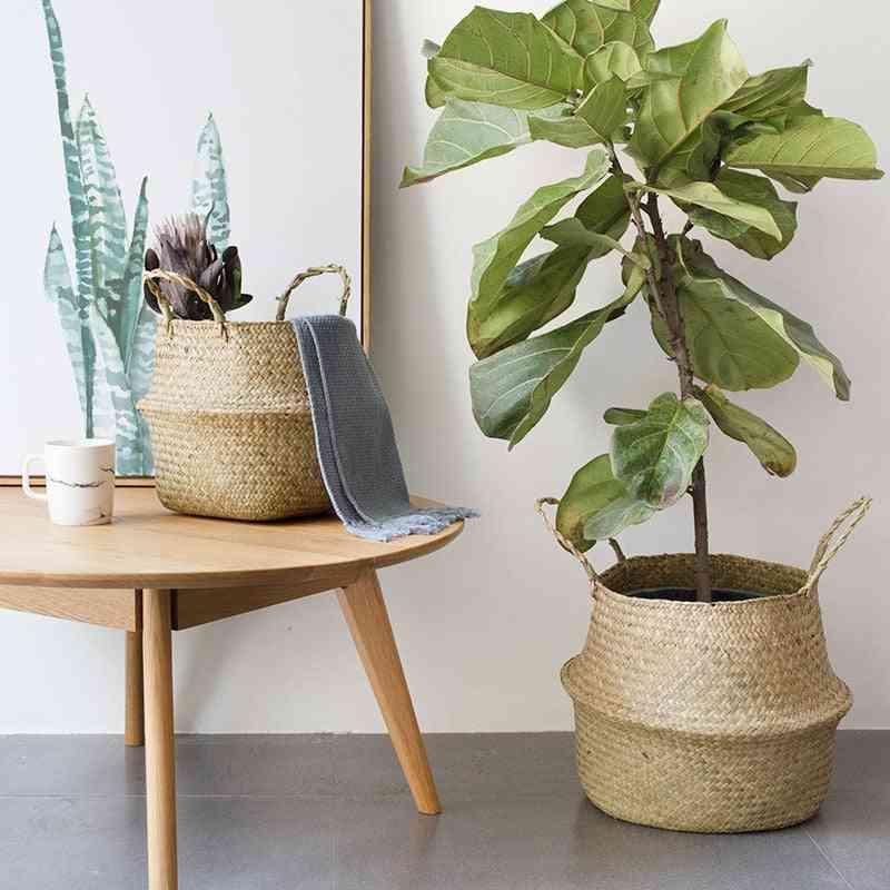 Household Storage Foldable Natural Seagrass Woven Storage Basket - Flower Vase Home Decor Basket