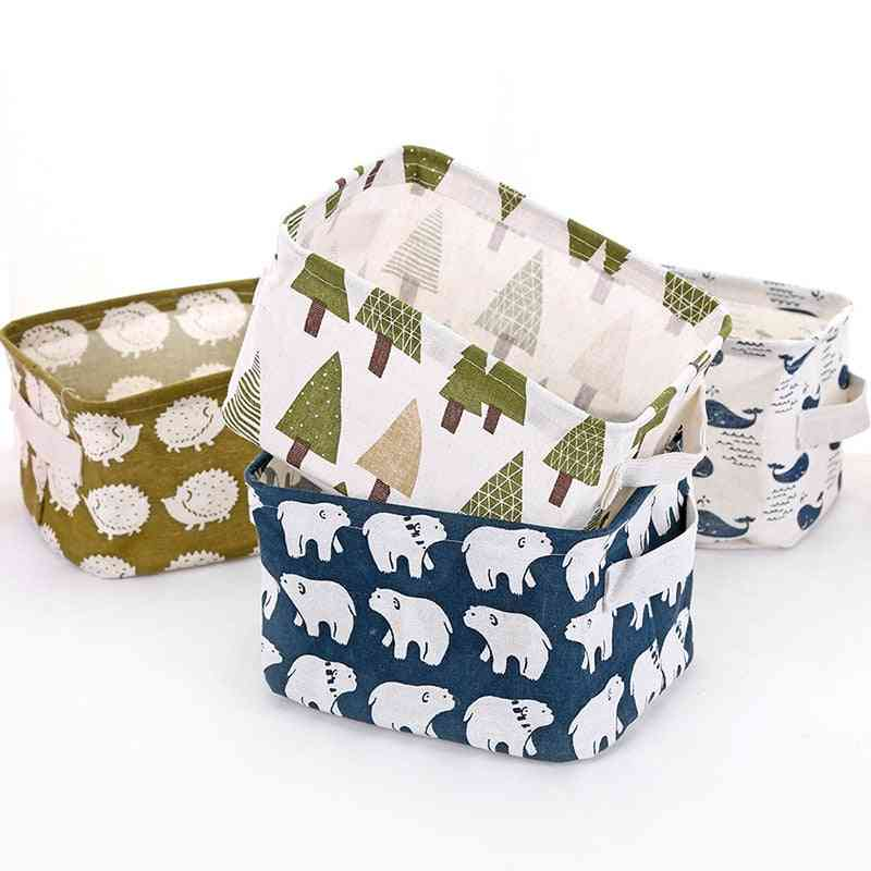 Linen Waterproof Desktop, Office Stationery Storage Box - Toy, Cosmetic, Clothes Sundries Storage Basket