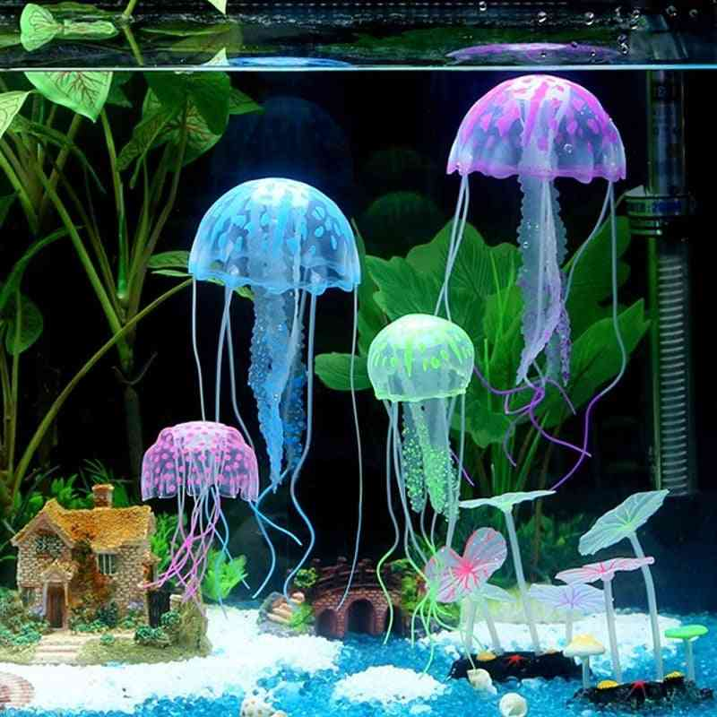 Artificial Swim Glowing Effect Jellyfish Aquarium Fish Tank Underwater Live Plant Luminous Ornament Aquatic Landscape